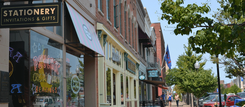 shops in downtown Lawrence, Kansas