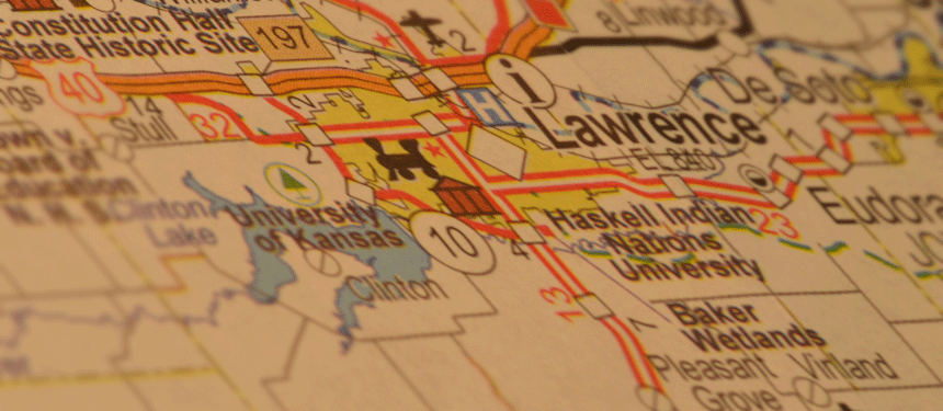 state of Kansas map focused on Lawrence Kansas